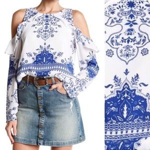 NWT! Lovers + Friends Cold Shoulder Blouse Top XS
